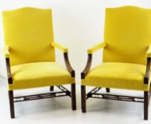 PAIR 19TH CENTURY CHIPPENDALE STYLE 'GAINSBOROUGH' LIBRARY ARMCHAIRS, later yellow upholstered camel