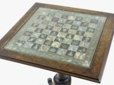 VICTORIAN ROSEWOOD TILT-ACTION GAMES TABLE, with inset glass decoupage moulded top, on baluster