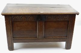 SMALL 17TH CENTURY JOINED OAK COFFER, boarded top with zigzag and dot motif to the scalloped edge,
