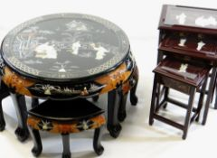 TWO SETS OF MODERN CHINESE LACQUER OCCASIONAL TABLES, with inlaid figure decoration, including a