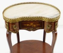 LOUIS XVI-STYLE GILT METAL MOUNTED KINGWOOD & WALNUT MARQUETRY TABLE AMBULANTE, with kidney-shaped