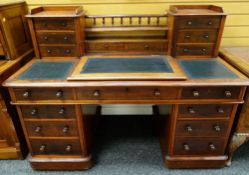 VICTORIAN MAHOGANY PEDESTAL DESK, upper section with banks of drawers joined by later gallery and