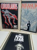THREE ROYAL SHAKESPEARE COMPANY (RSC) FRAMED POSTERS, screen prints - for Measure for Measure,