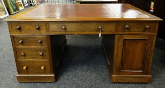 VICTORIAN-STYLE MAHOGANY PARTNERS DESK, red tooled leather inset moulded top above an arrangement of