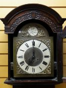 20TH CENTURY GERMAN QUARTER CHIMING LONGCASE CLOCK, break arch hood with slivered roman chapter ring