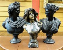 THREE MODERN REPRODUCTION COMPOSITION BUSTS, comprising classical style busts of Diana of Versaille