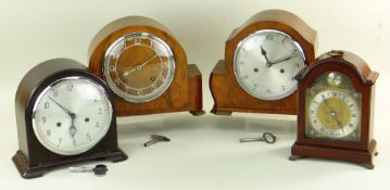 FOUR 20TH CENTURY MANTEL CLOCKS, comprising two 1930s Smiths clocks in walnut and bakelite cases,