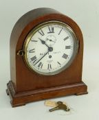 BRITISH RAILWAYS EASTERN REGION MAHAOGANY MANTEL CLOCK, the roman dial with BR(E) 14127 (