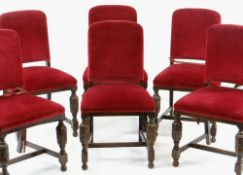 SET OF SIX ELIZABETHAN-STYLE OAK BACKSTOOL DINING CHAIRS, red velour upholstery (6) COLLECTING ITEMS