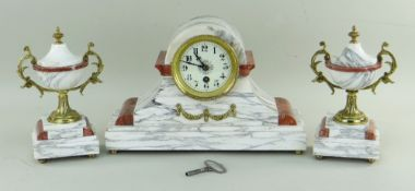 20TH CENTURY FRENCH-STYLE MARBLE MANTEL CLOCK GARNITURE, 23cms high (3) COLLECTING ITEMS STRICTLY BY