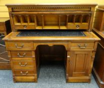 EDWARDIAN WALNUT CYLINDER BUREAU, moulded top above panelled 1/4 cylinder fall, opening to reveal