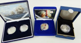 THREE ROYAL MINT SILVER PROOF CASED COINS, including 200th Anniversary Nelson - Trafalgar piedfort
