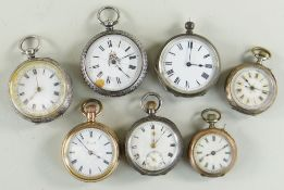 SEVEN VARIOUS LADIES SWISS FOB WATCHES, six in engraved silver cases, one gold plated and signed
