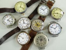 NINE VARIOUS WWI & OTHER WRISTWATCHES, including steel, silver and gold plated cases, all with