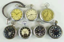 SEVEN VARIOUS MILITARY & OTHER POCKET WATCHES, comprising three with black dials including an