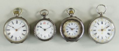 FOUR SILVER LADIES SWISS FOB WATCHES, all with white enamel dials and floral engraved cases, largest