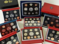COLLECTION OF UK PROOF COIN SETS comprising years 1950 (red), 1951 Festival of Britain (green), 1953