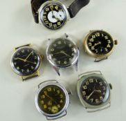 SIX VINTAGE WRISTWATCHES WITH BLACK DIALS, including an 'Aircraft' watch, a 'Kienzle' watch, a