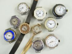 TEN VARIOUS LADIES 9CT GOLD & SILVER WRISTWATCHES, the gold consisting of a half hunter style