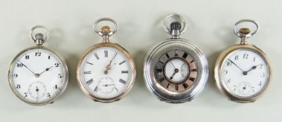 FOUR TOP WIND SILVER POCKET WATCHES, including a half hunter, two with half gold plated cases, all