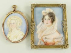 TWO EARLY 20TH CENTURY PORTRAIT MINIATURES OF LADIES, one in the style of Andrew Benjamin Lens,