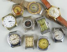TEN VARIOUS VINTAGE GENTS WRISTWATCHES, comprising an Aguila Suizo watch, a Timex watch with