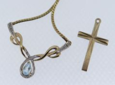 9CT GOLD CRUCIFIX PENDANT together with 9ct gold pendant on chain