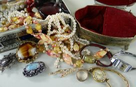THREE LADIES VINTAGE WRISTWATCHES, costume jewellery and multiple tokens, musical jewellery box