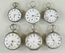 SIX SILVER KEY WIND POCKET WATCHES, all with white enamel dials and roman numerals, four with