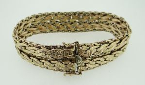 9CT YELLOW GOLD CHUNKY BRACELET HAVING CHAIN DESIGN BORDER, 21cms long, 40.2 grams. Condition