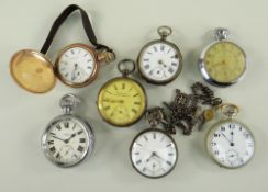 ASSORTED POCKET WATCHES, including gold plated Elgin hunter pocket watch, three silver cased watches