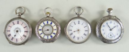 FOUR SWISS SILVER LADIES FOB WATCHES, one with half hunter case and guilloche enameled chapter ring,