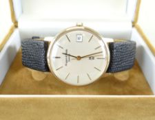 MODERN 9CT GOLD MAPPIN & WEBB GENTS WRISTWATCH, centre seconds and calender aperture, quartz