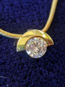 18CT GOLD NECKLACE WITH DIAMOND DROP, 0.25ct approx., 4.9gms (boxed)