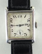 ART DECO SILVER TANK SWISS WRISTWATCH, import marks for 1904 and Swiss control marks, matt