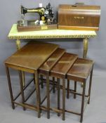 WARING & GILLOW VINTAGE OAK TABLE QUARTETO, onyx effect and gilt brass console table and a hand
