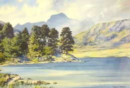 WINSTON MEGORAN watercolour - Snowdon from Llyn Llydaw, signed and with title label verso of Warwick