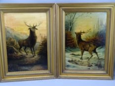 'HOLMES', oil on canvas, Early 20th Century, a pair - Stags, 48 x 32cms