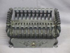 CAST IRON FIRE BASKET, stamped 'Genuine 18 Spanish', 24cms H, 47cms W, 3cms D