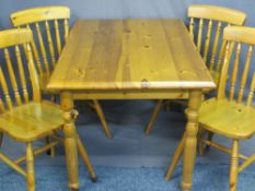 PINE DINING TABLE, 73cms H, 120cms W, 80cms D and four spindle back chairs, 85cms H, 39cms W,