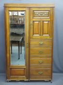 EDWARDIAN COMBINATION WARDROBE, mirrored single door with smaller upper door section over four