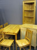 PINE FURNITURE - breakfast table, 73cms H, 115cms W, 74cms D, four chairs, worktop utility