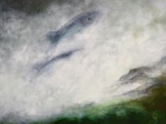 CATHERINE GRANT oil on canvas - leaping salmon, signed with initials, 39 x 39cms