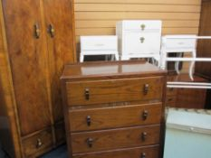 VINTAGE BEDROOM FURNITURE PARCEL, 10 items including a neat walnut two door, two drawer wardrobe,