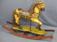PAINTED ROCKING HORSE, REPRODUCTION 84cms H, 121cms W, 39cms D