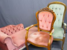 REPRODUCTION BUTTON UPHOLSTERED CHAISE LONGUE and two non-matching armchairs, 70cms H, 134cms L,