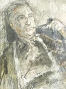 WILLIAM SELWYN watercolour - head and shoulders portrait of a pipe smoking Moss Williams, signed, 44