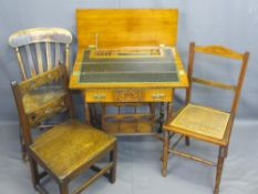 ANTIQUE & VINTAGE FURNITURE PARCEL, four items to include an Edwardian oak writing desk having a