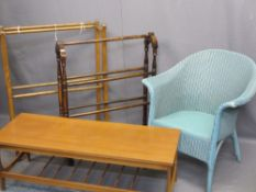 LLOYD LOOM ARMCHAIR, two vintage towel airers and teak Long John coffee table, 36cms H, 107cms W,
