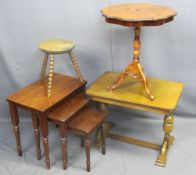 OCCASIONAL TABLES - Italian reproduction inlay tripod, 60cms H, 52cms D, a refectory style coffee,